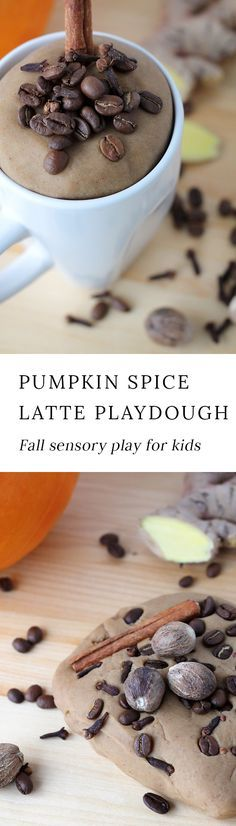 Indulge your child's senses with the rich scents of nutmeg, clove, cinnamon, and coffee beans in this buttery soft Pumpkin Spice Latte Playdough. #playdough #fall #kids via @https://www.pinterest.com/fireflymudpie/