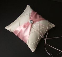 Pintuck Taffeta Diamonds Ring Bearer Pillow in by RomancingJuliet