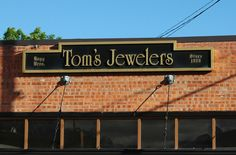 Outside shots of businesses in Livingston, Montana. Tom's Jewelers.