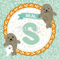 ABC animals S is seal. Childrens english alphabet. Vector Royalty Free Stock Vector Art Illustration
