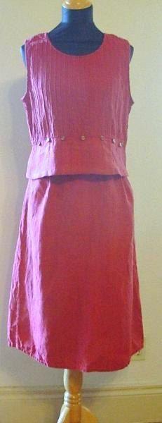 Upcycled red linen dress,  two piece dress, bust 40 dress, hip 43 dress, skirt and top, kick pleat skirt, pintuck top, linen skirt and top