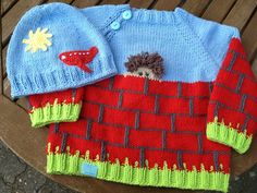 Knitting Patterns For Kids Sweater and cap 'The Mauergucker' – a unique product by Sonnenkinder. Too bad that my child … Baby Boy Knitting, Baby Cardigan Knitting Pattern, Knitting For Kids, Baby Knitting Patterns, Knitting Designs, Crochet Patterns, Girls Sweaters, Baby Sweaters, Baby Boy Outfits