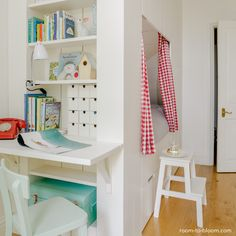 Foldable desk is a space saver ! Georgie's white bedroom before and after | Room to Bloom