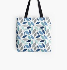 Leaf Prints, Art Prints, Blue Leaves, Printed Tote Bags, Custom Bags, Floral Design, How To Draw Hands, Finding Yourself, Reusable Tote Bags