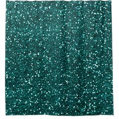 Minimal Abstract Glitter Monstera Teal Tropical Shower Curtain - glam gifts unique diy special glamour