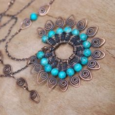 Deeply oxidized copper and blue-green turquoise are such a perfect combo!