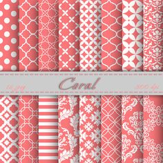 Coral Digital Paper Scrapbooking Papers Patterns Digital