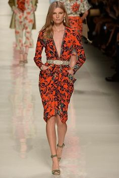Etro, spring/summer 2014 - low v red dress - belt - ankle strap heels