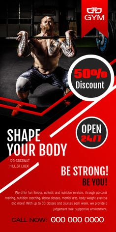 Customize this design with your video, photos and text. Easy to use online tools with thousands of stock photos, clipart and effects. Free downloads, great for printing and sharing online. Roll Up Banner 3' × 6'. Tags: fitness banners, gym banners, gym poster design, pull up banner, roll up banner template, Fitness , Fitness Roll Up Banner 2' × 5' Jazz Poster, Rock Posters, Gym Advertising, Rollup Banner Design, Gym Banner, Supplemental Health Insurance, Gym Design, Design Nike, Flyer Design