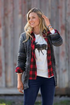 The ultimate layering piece.  Natural Reflections Space Dye Cardigan styled here with the Natural Reflections Flannel Shirt and Natural Reflections Moose Graphic Thermal