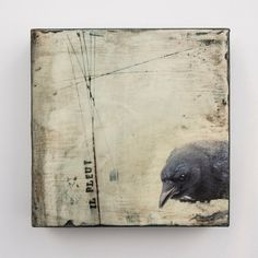 Crow in the Rain  Il Pleut   Mixed Media with by junehunter