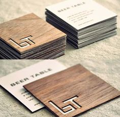 A Collection of Creative Wooden Business Cards Beer table wood wooden business card design Corporate Design, Business Card Design, Branding Design, Corporate Identity, Personal Identity, Stationery Design, Visual Identity, Web Design, Design Cars