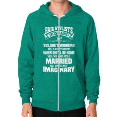 HUSBAND HairStylists Zip Hoodie (on man)