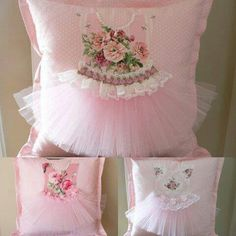 pretty little pink tutu pillows. Gotta DIY this! Cute Pillows, Diy Pillows, Decorative Pillows, Pillow Ideas, Fabric Crafts, Sewing Crafts, Sewing Projects, Pink Tutu, Sewing Pillows