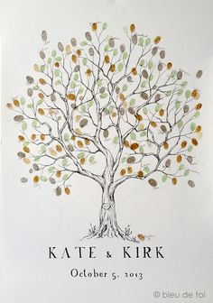 Large Olive Tree, The original hand-drawn guest book fingerprint tree (ink pads sold separately) via Etsy  order from her!