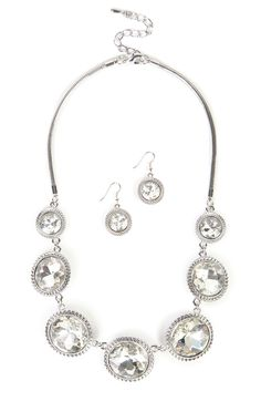 Deb Shops Large Stone Jewelry Set with Necklace and Matching Earrings $5.00