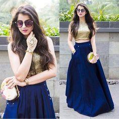 Crop Top And Blue Silk Dress Lehenga Choli ,Indian Dresses - 1 Indian Lehenga, Lehenga Anarkali, Lehenga Indien, Blue Lehenga, Lehnga Dress, Dress Skirt, Lehenga Crop Top, Indian Salwar Kameez, Cape Dress
