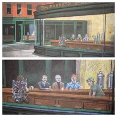 Found on FunnyOrDie.com - Bill Murray / Edward Hooper Nighthawks chalk art. Rushmore / The Royal Tenenbaums / The Life Aquatic with Steve Zissou / Ghostbusters