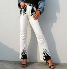 Best Price of Autumn Winter White Casual Wide Leg Pants Women Elegant High Waist Flared Trousers Fire Print Bottom Pants Capris Streetwear C. Painted Jeans, Painted Clothes, Custom Clothes, Diy Clothes, Flame Pants, Street Chic, Street Wear, Mode Streetwear, Streetwear Fashion