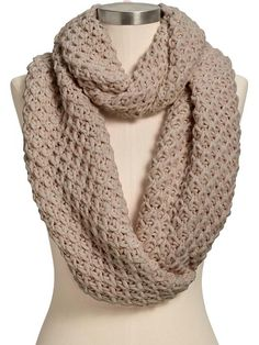 chunky scarf in multiple color options. (Women's Honeycomb-Stitch Infinity Scarves)