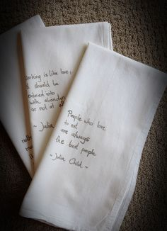 flour sack tea towels + fabric marker - could write convention theme with scripture etc