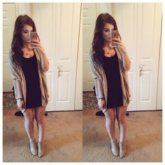 love the cardigan with the black dress.