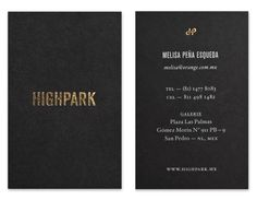 Gold block foil business card design by Face for luxury property development Highpark.