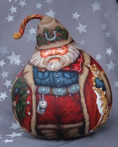 My Christmas Present gourd:  Custom Southwest/NM Santa by  Suzy Meelhuysen (Etsy.com)