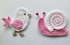 Pajarito y caracol a crochet