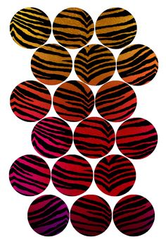 "Tiger Stripes (red rainbow) Bottle cap image pack Formatted for printing on 4"" x 6"" photo paper"