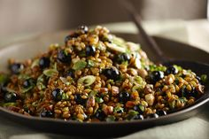 Served room temperature or chilled this blueberry salad with curry-flavored wheat berries is a healthy and hearty option for side dish. The