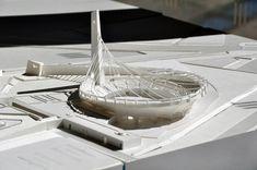 Maqueta del Gimnasio Nacional Yoyogi, gimnasio menor. Maqueta en la exhibición ARCHI-NEERING, del Congreso Mundial de Arquitectura en Tokio 2011. Fuente: Mi Moleskine Arquitectónico.