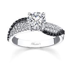 Barkev's unique black diamond engagement ring setting # 7690LW