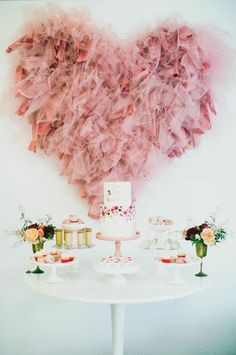 Valentine Sweets Table. Look at that heart?! Love it. See more dessert table ideas on www.prettymyparty.com.