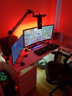 22 Wonderful Computer Desk Under 40 Best Gaming Setup, Gamer Setup, Gaming Room Setup, Pc Setup, Computer Gaming Room, Computer Desk Setup, Gaming Rooms, Bedroom Setup, Home Office Setup