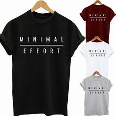 Summer Style Minimal Effort Unisex T-Shirt Funny Hip Hop Swag Top Tee Shirt Slogan Cool Fashion  Tshirt for Men Women XS-2XL #Affiliate