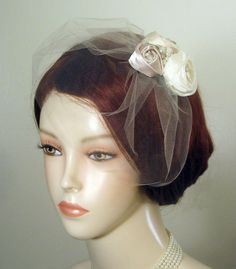 Vintage Style Birdcage Veil  with Detachable Rosette Clip with Rhinestones, Pearls, White, Ivory, Champagne - AUDREY. $70.00, via Etsy.