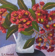 Kensington Gum Blossom, oil on canvas board, 30 x 30 cm by Elisabeth Howlett Oil Painting Flowers, Texture Painting, Oil Painters, Canvas Board, Nativity, Orchids, Oil On Canvas, Poppies, Original Paintings