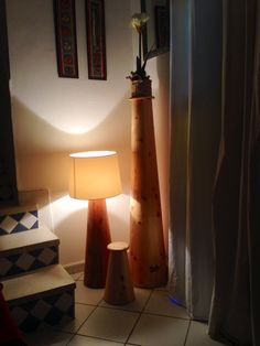 Lamp, in wood special collection from JPBH, Essaouira 2015. 3 sizes from 30, 62, 120 cm without lampshade wood, from Morocco, Thuya, non heavy wood,  price from 39€ to 159€ , new lampshade in cord ( black, red, grey blue) in few weeks  (handmade specials sizes)  http://www.jpbluehouse.com Or on Facebook, John and Philip Blue House, bed and breakfast in Morocco, Essaouira