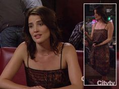 Robin's orange printed dress on How I Met Your Mother - by L'Agence - $495