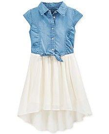GUESS Girls' Denim-to-Chiffon Tie-Front Dress