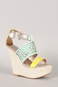Qupid Finder-197 Nubuck Tri-Tone Platform Wedge
