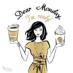 monday girl coffee fashion illustration