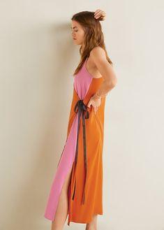 cbb88e4e663 Двухцветное платье с бантом - Женская. Упаковка ПлатьяМанго