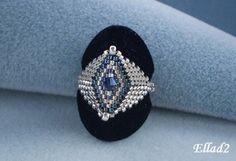 TUTORIAL Silver BlueRing  Bead pattern by Ellad2 on Etsy, $5.00