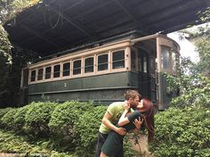 Making memories: Newlyweds Lydia Hearst and Chris Hardwick are sharing social media photos of themselves kissing in every location they visit while on their honeymoon in Japan