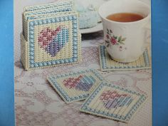 Pretty Patchwork Hearts Coasters Holder Pattern s for Plastic Canvas | eBay