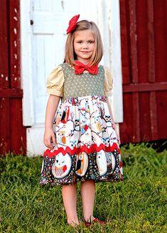 Sweet Owls Little Girls Dress  Jumper and Blouse by PinkMouseKids, $59.00
