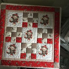 Beverly Adams stitched out this cute quilt!..   Sock Monkey Applique Too is available for Instant Download at designsbyjuju.com