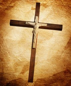 Wooden cross isolated on white background with clipping path